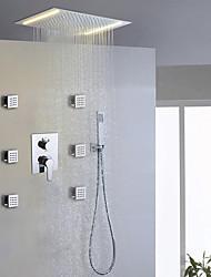 Zeitgenössisch Duschsystem LED Regendusche Handdusche inklusive with  Keramisches Ventil Zwei Griffe neun Löcher for  Chrom ,