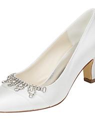 Feminino-Saltos-Sapatos clube-Salto Grosso-Ivory-Cetim com Stretch-Casamento Social Festas & Noite