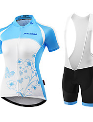 Malciklo Cycling Jersey with Shorts Women's Short Sleeve BikeBreathable Anatomic Design Ultraviolet Resistant Moisture Permeability Front