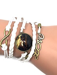 Leather Bracelet Wrap Bracelet Alloy Leather Horse Handmade Bohemia Men's Women's Jewelry 1pc
