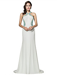 Formal Evening Dress Sheath / Column Halter Court Train Jersey with Beading
