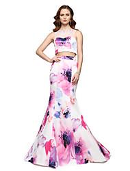 TS Couture Serata formale Vestito - Fantasia floreale Spezzato Vestito con motivo A sirena A barca Lungo Raso con Perline A pieghe