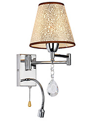 LightMyself Wall Lamp for Bedroom Reading Lamp Fabric Lamp Modern/Comtemporary Country Chrome Feature for Crystal Swing Arm