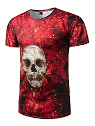 Men's Casual/Daily Active All Seasons T-shirt,Print Round Neck Short Sleeve Polyester Medium