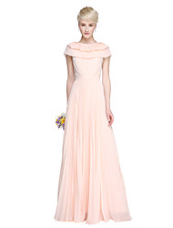 LAN TING BRIDE Floor-length Jewel Bridesmaid Dress - Open Back Elegant Sleeveless Chiffon