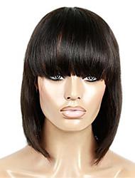 peinar el cabello humano peluca del frente del pelo virginal natural de encaje color negro bob 10-18 pulgadas con pelo del bebé