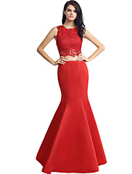 Formal Evening Dress Trumpet / Mermaid Jewel Floor-length Satin with Beading Lace
