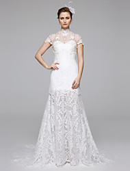 LAN TING BRIDE Trumpet / Mermaid Wedding Dress Simply Sublime See-Through Sweep / Brush Train High Neck Lace with Draped Lace