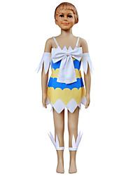 קיבל השראה מ סיפור אגדה קוספליי אנימה תחפושות קוספליי חליפות קוספליי דפוס צהוב כחול בלי שרוולים שמלה שרוול מגני רגל ל