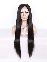 130% Dichte brasilianisches reines Haar volle Spitzeperücke langes gerade Haar natürliche schwarze Farbe menschliche reine