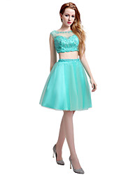 Cocktail Party Dress Ball Gown Jewel Knee-length Tulle with Beading