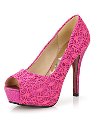 Sandaletler-Ofis ve Kariyer Elbise Parti ve Gece-Kulüp Ayakkabı-Tül-Stiletto Topuk-Altın Beyaz Siyah Kırmzı Mavi-Kadın