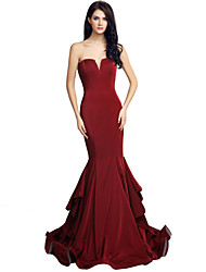 Formal Evening Dress Trumpet / Mermaid Sweetheart Court Train Jersey with Cascading Ruffles
