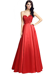 Formal Evening Dress Ball Gown Sweetheart Floor-length Satin with Beading