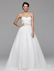 LAN TING BRIDE A-line Wedding Dress Open Back Sweep / Brush Train Sweetheart Chiffon Lace with Beading Draped