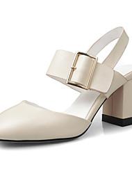 Feminino-Sandálias-Chanel-Salto Grosso Salto de bloco-Preto Bege Verde-Pele-Escritório & Trabalho Social Festas & Noite