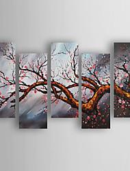 מצויר ביד פרחוני/בוטני מאוזן,מודרני חמישה פנלים בד ציור שמן צבוע-Hang For קישוט הבית
