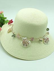 כובע קש כובע שמש פסים פוליאסטר קש חורף קיץ חמוד יום יומי נשים