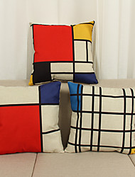 3 pçs Linho Cobertura de Almofada Fronha,Inovador Textura Geométrico Moderno/Contemporâneo Casual Outros