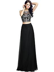 Formal vestido de noite bainha / coluna jóia chiffon chão-comprimento com beading