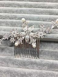 라인석 합금 모조 진주 투구-웨딩 특별한날 머리 빗 헤어 용품 1개