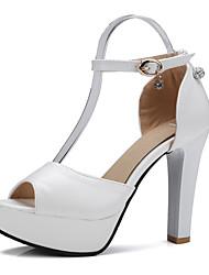 Sandaletler-Düğün Ofis ve Kariyer Elbise-Kulüp Ayakkabı-PU-Stiletto Topuk-Beyaz Siyah Mor Pembe-Kadın