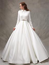 LAN TING BRIDE 볼 드레스 웨딩 드레스 어깨 노출 스타일 스윕 / 브러쉬 트레인 하이 넥 새틴 와 비즈 리본 허리끈 / 리본