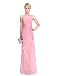 LAN TING BRIDE Floor-length V-neck Bridesmaid Dress - Elegant See Through Sleeveless Chiffon