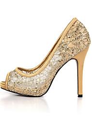 kvinners hæler sommerklubb sko tyll bryllup&kjole