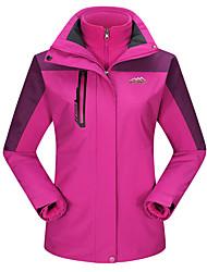 Mulheres Jaquetas 3-em-1 Jaqueta Feminina Esqui Acampar e Caminhar Caça Esportes de Neve SnowboardImpermeável Respirável Térmico/Quente A
