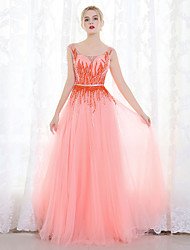 Formal Evening Dress Ball Gown Scoop Floor-length Tulle with Beading Sequins