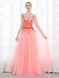 Serata formale Vestito Da ballo Stondata Lungo Tulle con Perline Con strass