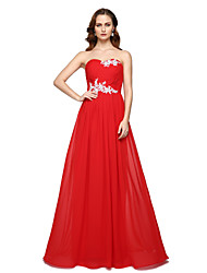 TS Couture Formal Evening Dress - Elegant Lace-up A-line Sweetheart Floor-length Chiffon with Beading Pleats