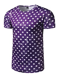 Men's Casual/Daily Active All Seasons T-shirt,Galaxy Round Neck Short Sleeve Polyester Medium