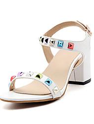 Feminino-Sandálias-Chanel-Salto Grosso Salto de bloco-Branco Preto Cinzento Rosa claro-Couro Ecológico-Escritório & Trabalho Social