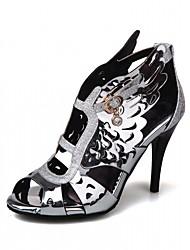 Sandaletler-Ofis ve Kariyer Elbise Parti ve Gece-Rahat-Yapay Deri-Stiletto Topuk-Altın Beyaz Gri Mor-Kadın
