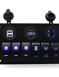 iztoss dc 12 / 24v 6 gäng blå vippströmställare panel med läns fläkt länspump stereo switch och 3.1a Dual USB voltmeter LED Power