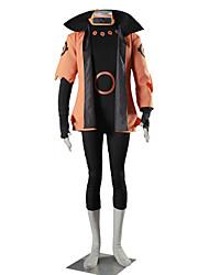 Inspirovaný Naruto Naruto Uzumaki Anime Cosplay kostýmy Cosplay šaty Jednobarevné Czarny Pomarańczowy Krátké rukávy Kabát Leotard Rukavice
