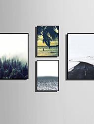 Krajina Květiny a rostliny Slova & Citáty Kanvas v rámu Set v rámu Wall Art,PVC Materiál Černá Bez pasparty s rámem For Home dekoracerám