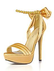 festa di nozze scarpe di club di seta dei sandali di estate delle donne&catena vestito bowknot sera