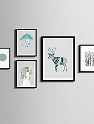 Krajina Květiny a rostliny Hayvanlı Slova & Citáty Kanvas v rámu Set v rámu Wall Art,PVC Materiál Černá Bez pasparty s rámem For Home