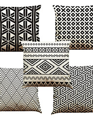Set of 5 Triangular Geometry Pattern  Linen Pillowcase Sofa Home Decor Cushion Cover (18*18inch)