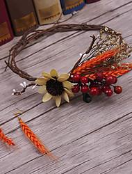 פשתן בד כיסוי ראש-חתונה אירוע מיוחד קז'ואל חוץ נזרים זרי פרחים 3 חלקים