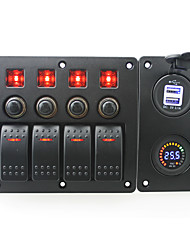 IZTOSS red led DC24V 4 Gang on-off rocker switch curved panel and circuit breaker with label stickers and blue led 3.1A USB power socket and DC24V vol