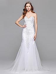 LAN TING BRIDE 시스 / 칼럼 웨딩 드레스 어깨 노출 스타일 바닥 길이 스윗하트 튤 와 비즈