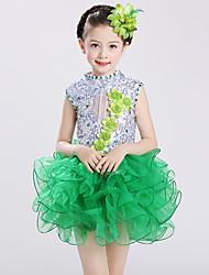 בלט שמלות לילדים ביצועים ספנדקס טול קריסטלים / rhinestones Paillettes קפלים 2 חלקים בלי שרוולים גבוה שמלות אביזרים לשיער100:53, 110:55,