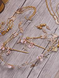 Bergkristal Licht Metaal Imitatie Parel Helm-Bruiloft Speciale gelegenheden Tiara's Hoofdbanden Haarspeld 5-delig