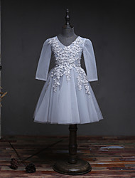 A-line Knee-length Flower Girl Dress - Tulle Satin Chiffon V-neck with Lace Pearl Detailing