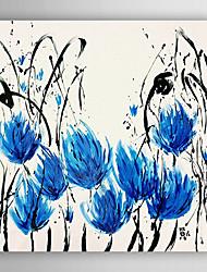 Pintados à mão Floral/Botânico Quadrangular,Moderno 1 Painel Tela Pintura a Óleo For Decoração para casa