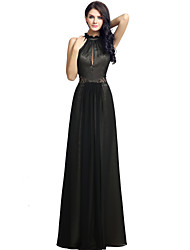 Formal Evening Dress Sheath / Column Jewel Floor-length Chiffon with Beading Side Draping